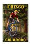 Frisco, Colorado - Mountain Biker in Trees Poster van  Lantern Press