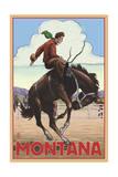 Montana - Cowboy and Bronco Scene Prints by  Lantern Press