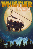 Ski Lift and Full Moon - Whistler, Canada Prints by  Lantern Press