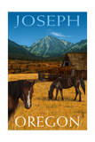 Joseph, Oregon - Horses and Barn Prints by  Lantern Press