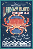 Whidbey Island, Washington - Dungeness Crab Vintage Sign Prints