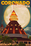 San Diego, California - Hotel Del Coronado and Moon Poster by  Lantern Press