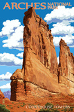 Arches National Park, Utah - Courthouse Towers Print by  Lantern Press