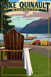 Lake Quinault and Adirondack Chairs - Washington Prints by  Lantern Press
