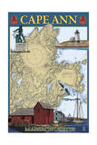 Cape Ann, Massachusetts - Nautical Chart 2 Posters by  Lantern Press