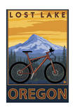 Lost Lake, Oregon - Mountain Bike Scene Art by  Lantern Press