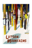 Lutsen Mountains - Colorful Skis Prints by  Lantern Press