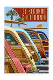 El Segundo, California - Woodies Lined Up Art by  Lantern Press