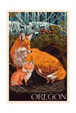 Oregon - Fox and Kit Prints by  Lantern Press