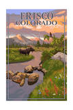 Frisco, Colorado - Moose and Meadow Scene Art by  Lantern Press