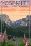Bears and Spring Flowers - Yosemite National Park, California Plakater av  Lantern Press