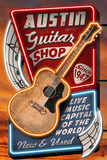 Austin, Texas - Guitar Shop Vintage Sign Posters van  Lantern Press