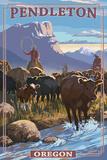 Cowboy Cattle Drive Scene - Pendleton, Oregon Art by  Lantern Press