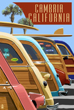 Cambria, California - Woodies Lined Up Print by  Lantern Press
