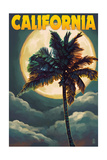 California - Palms and Moon Posters by  Lantern Press
