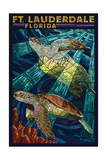 Ft. Lauderdale, Florida - Sea Turtle Paper Mosaic Schilderijen van  Lantern Press