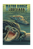 Baton Rouge, Louisiana - Alligator Scene Poster by  Lantern Press