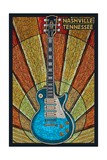 Nashville, Tennessee - Guitar Mosaic Print by  Lantern Press