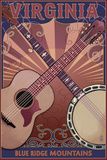 Blue Ridge Mountains - Banjo and Guitar Posters by  Lantern Press