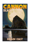 Cannon Beach, Oregon - Haystack Rock and Full Moon Prints by  Lantern Press