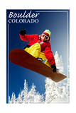 Boulder, Colorado - Snowboarder Print by  Lantern Press