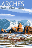 Arches National Park, Utah - Turret Arch in Winter Prints by  Lantern Press