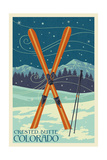 Crested Butte, Colorado - Crossed Skis Art by  Lantern Press