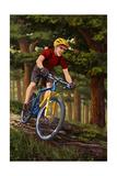 Mountain Biker in Trees Kunst van  Lantern Press