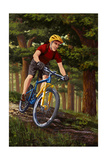 Mountain Biker in Trees Poster