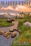 Whitefish, Montana - Moose and Meadow Art by  Lantern Press