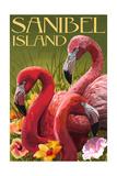 Sanibel Island, Florida - Flamingos Poster by  Lantern Press
