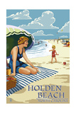 Holden Beach, North Carolina - Woman on Beach Posters by  Lantern Press