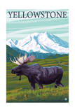 Yellowstone, Montana - Moose and Mountain Prints by  Lantern Press