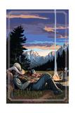 Cowboy Camping Night Scene Art by  Lantern Press