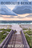 Monmouth Beach, New Jersey - Beach Boardwalk Scene Prints by  Lantern Press