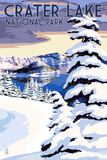 Crater Lake National Park, Oregon - Winter Scene Poster by  Lantern Press