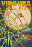 Virginia Beach, Virginia - Ferris Wheen and Full Moon Prints by  Lantern Press