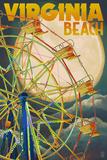 Virginia Beach, Virginia - Ferris Wheen and Full Moon Prints