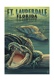Ft. Lauderdale, Florida - Alligator Scene Prints by  Lantern Press