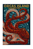 Orcas Island, Washington - Octopus Mosaic Print by  Lantern Press
