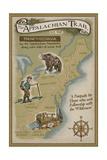 Lantern Press - Appalachian Trail Map Obrazy