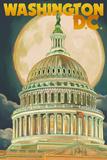 Washington, DC - Capitol Building and Moon Print by  Lantern Press