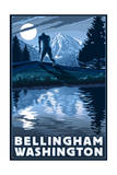 Bellingham, Washington - Bigfoot and Mountain Posters by  Lantern Press