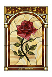Pasadena, California - Rose Stained Glass Prints by  Lantern Press