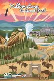 Yellowstone National Park - Retro View Prints by  Lantern Press