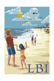 Long Beach Island, New Jersey - Kite Flyers Art by  Lantern Press