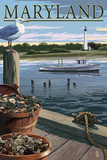 Maryland - Blue Crab and Oysters on Dock Plakat autor Lantern Press
