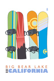 Big Bear Lake - California - Snowboards in Snow Poster by  Lantern Press