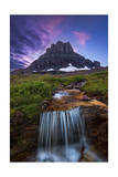 Glacier National Park, Montana - Mt. Reynolds and Waterfall Art by  Lantern Press