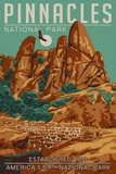 Pinnacles National Park - WPA Formations and Condor Art by  Lantern Press